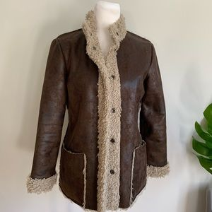 Velvet faux suede Sherpa lined coat Small